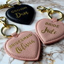 Personalised Bridesmaid Leather Heart Keyring