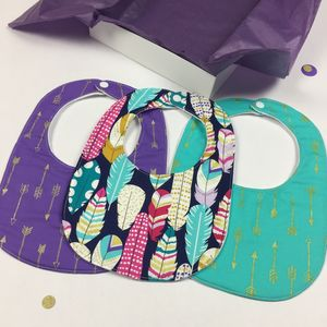 Girls Feather And Gold New Baby Bib Gift Set