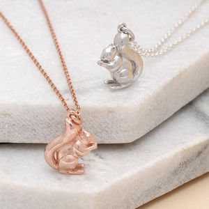 Personalised Silver Or 18ct Gold Squirrel Necklace