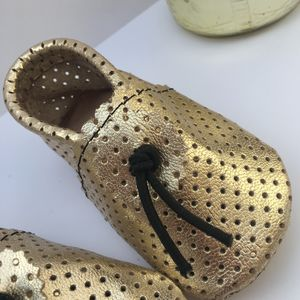 Safi Gold Perforated Leather Baby Booties - babies' slippers