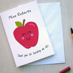 Personalised Teacher Apple Card - gifts for teachers