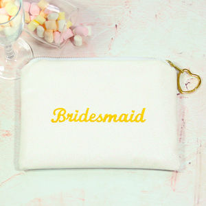 Embroidered Glitter Bridesmaid Clutch Bag