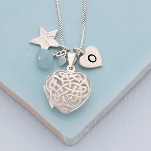 Personalised Celtic Heart Locket With Birthstone - necklaces & pendants