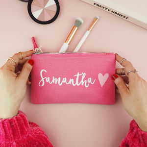 Personalised Pink Make Up Bag