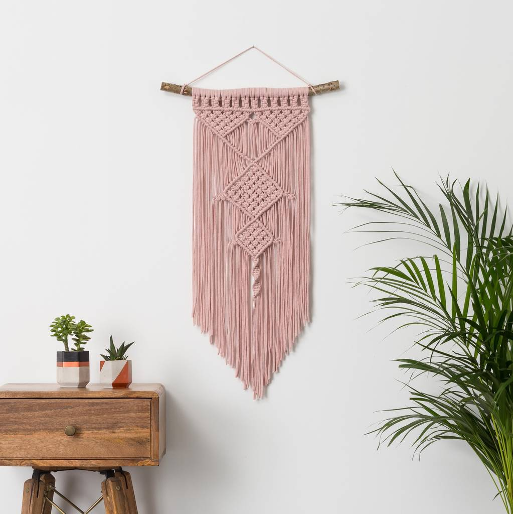 diamond macrame wall hanging by mara. Black Bedroom Furniture Sets. Home Design Ideas