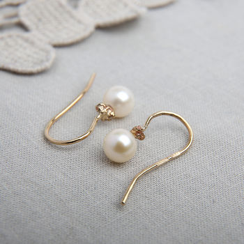 Pearl And Gold Nugget Hook Earrings
