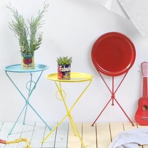 Bright Coloured Metal Folding Tables - small garden ideas