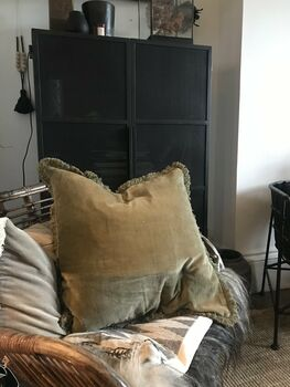 Velvet Cushion With Fringe Olive