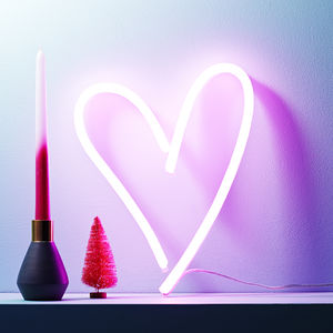 Neon Light Up LED Heart Sign - decorative accessories