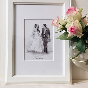 Wedding Couple Hand Drawn Illustration - limited edition art