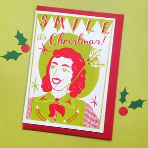 Christmas Smile Screen Printed Christmas Card