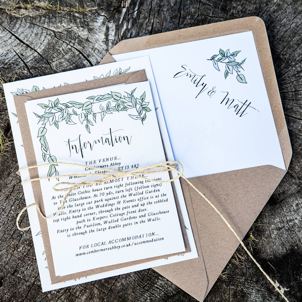 greenery wedding invitation by emmy designs | notonthehighstreet.com