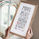 typographic print in oak frame about to do list for couple