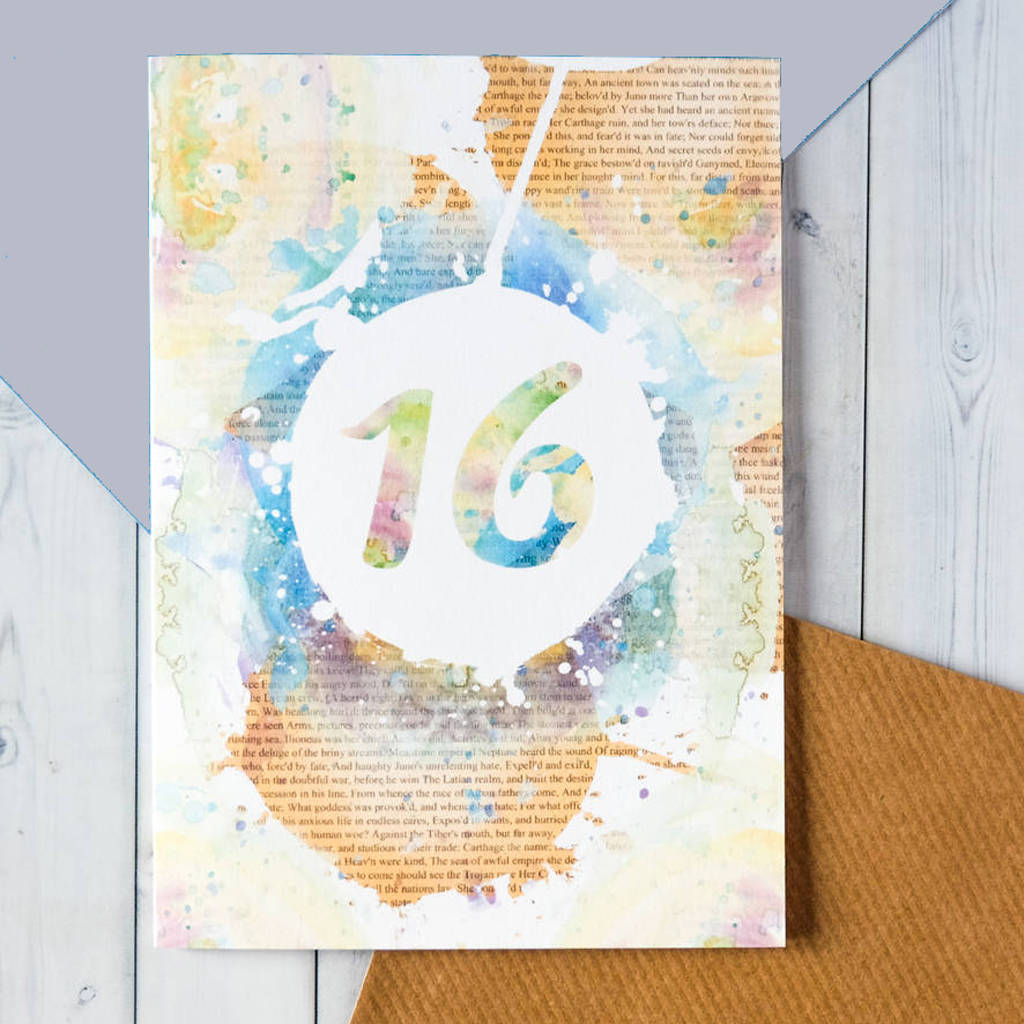 16th Birthday Watercolour Card