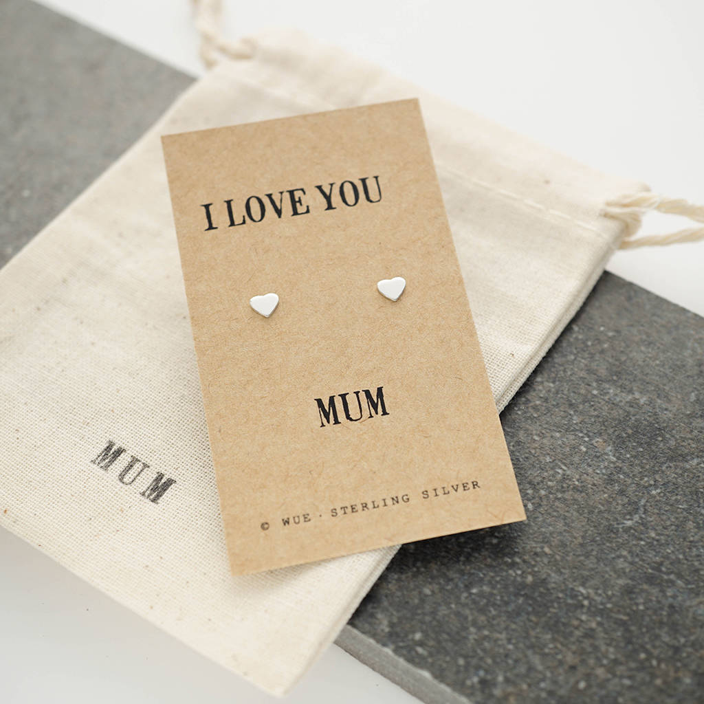 Love You Mum Silver Earrings