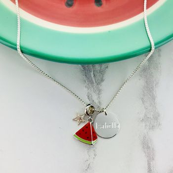 Watermelon Personalised Charm Necklace