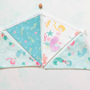 Mermaids And Seahorses Cotton Mini Bunting