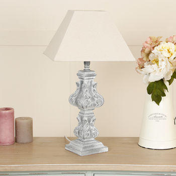 Classical Grey Leaves Distressed Olbia Table Lamp