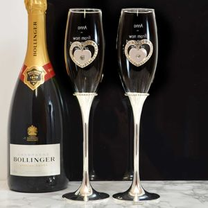 Engraved Champagne Flutes Set With Hearts And Diamantes