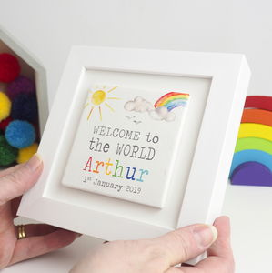 Personalised Framed New Baby Welcome To The World Tile