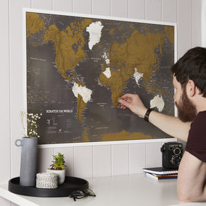 Scratch The World® Black Map Print With Coin - 21st birthday gifts