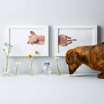 Personalised Sleepy Sausage Dog Print Duo