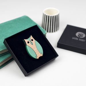 Owl Brooch Made From Green Acrylic And Wood - pins & brooches