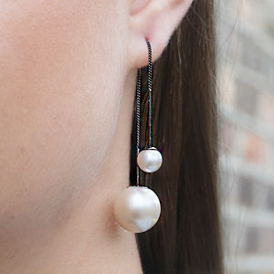 Black Threader White Pearl Chain Earrings - earrings
