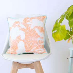 Screen Printed Sophie Peach Cushion - bedroom