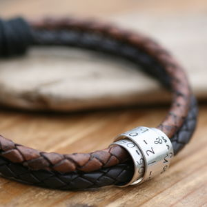 Personalised Mens Metro Brown Scroll Tie Bracelet - bracelets
