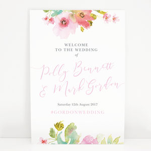 Watercolour Floral Juliette Wedding Welcome Sign
