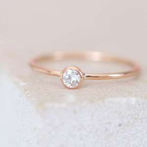 9ct Rose Gold Dainty Diamond Engagement Ring