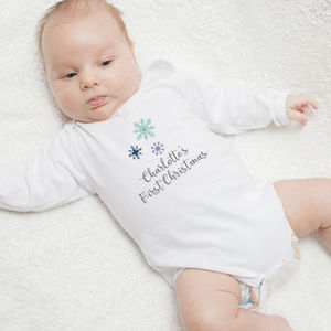 Personalised First Christmas Snowflake Babygro - new in christmas