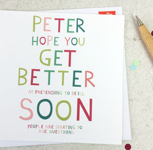 Funny Get Well Personalised Get Well Soon Card