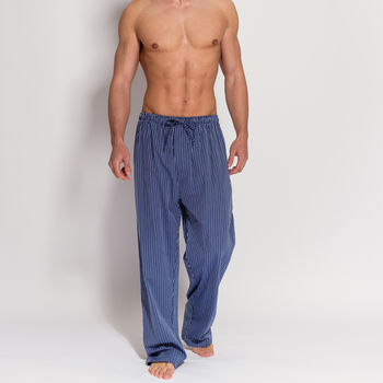 Men's Navy And Silver Stripe Cotton Pyjama Trousers