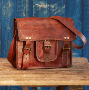Vintage Style Brown Leather Laptop Satchel