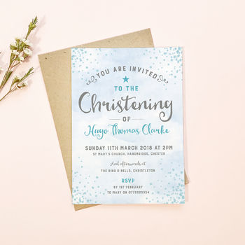Star Personalised Christening Invitations
