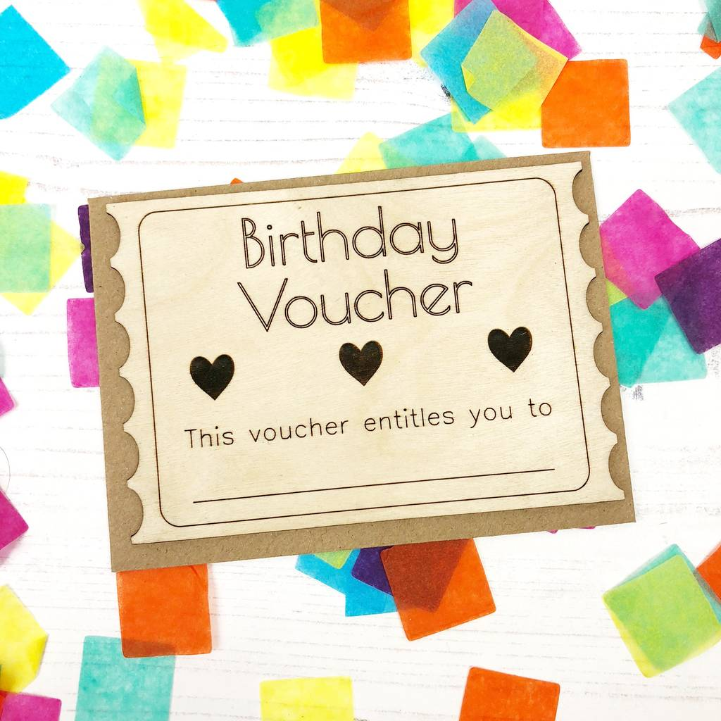 u0026 39 birthday voucher u0026 39  wooden card by jayne tapp design