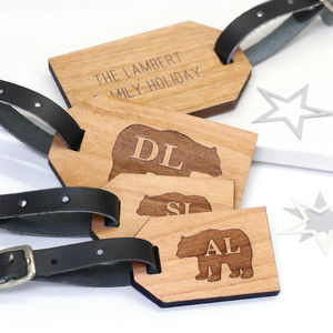 Personalised Bear Family Luggage Tag - luggage tags