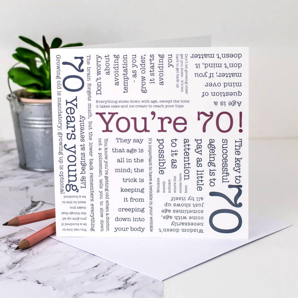 70th birthday card 70th birthday card youre 70 quotes birthday cards bookmarktalkfo Images