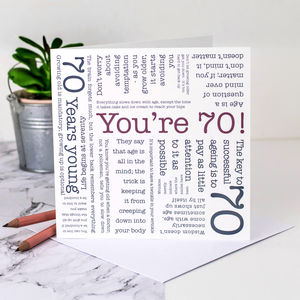 70th Birthday Card 'You're 70!' Quotes - birthday cards