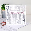 70th Birthday Card 'You're 70!' Quotes