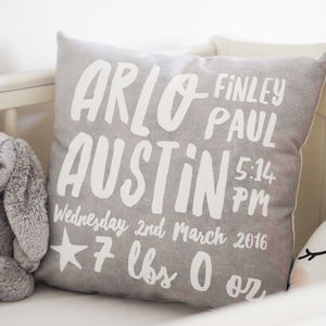 Personalised Baby Birth Details Cushion - cushions