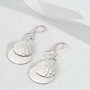 Dual Textured Sterling Silver Layered Teardrop Earrings - earrings