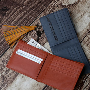 Personalised Men's Leather Billfold Wallet - 3rd anniversary: leather