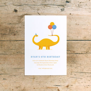 Dinosaur Children's Birthday Party Invitations - children's parties