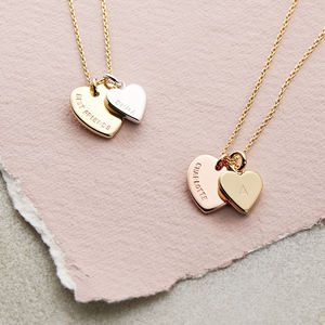Personalised Double Heart Charm Necklace - for friends