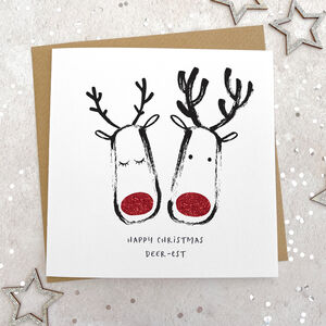 Couples Glittery Reindeer Christmas Card