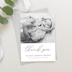 New Baby Grey Script Thank You Cards
