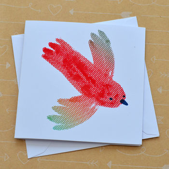 Parrot Small Hand Screenprinted Card